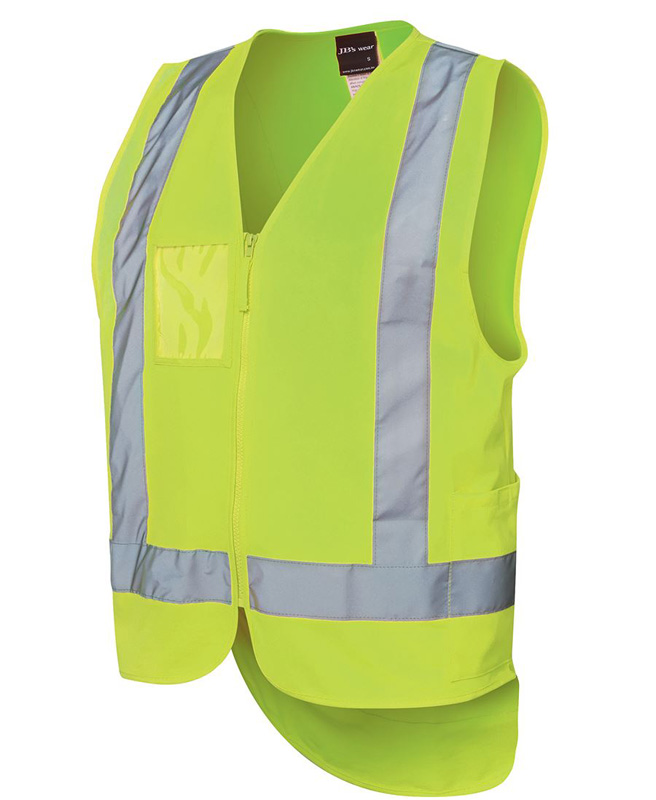 JB Hi Vis Zip Drop Tail H Pattern (D+N) Vest