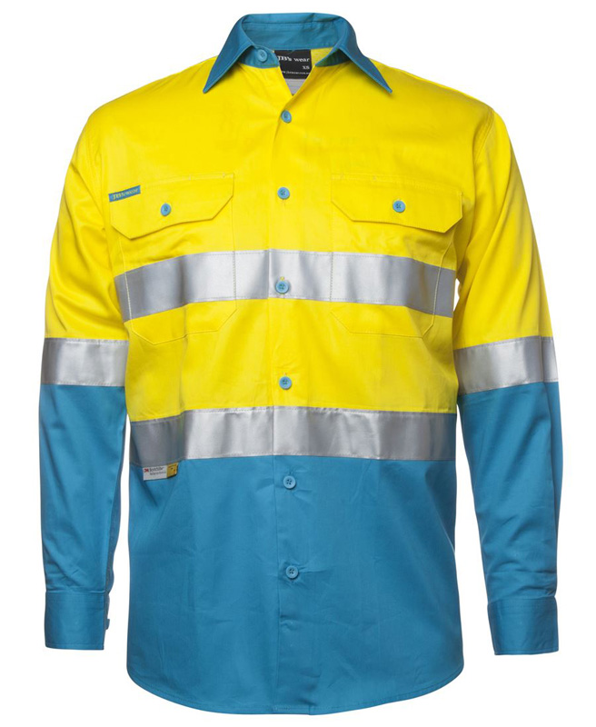 JB Hi Vis Long Sleeve Work Shirt 150G