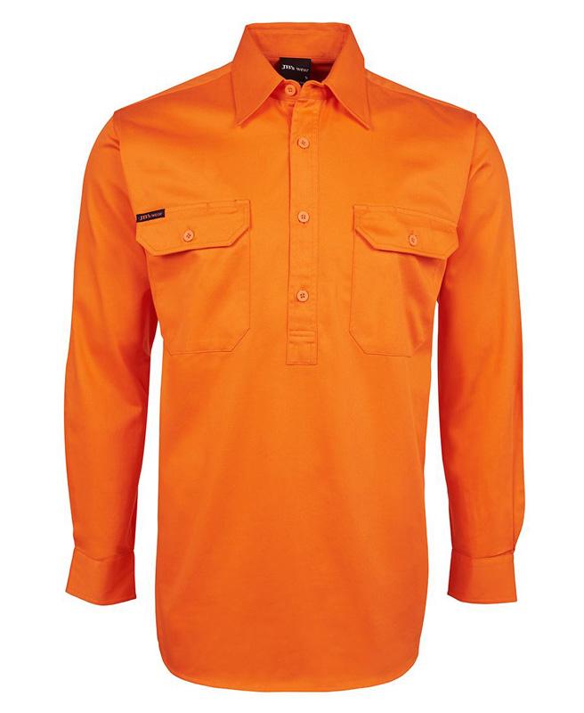 JB Hi Vis 1/2 Button Long Sleeve Shirt