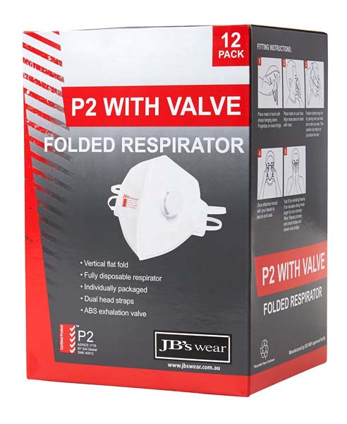 P2 Valve Foldable Respirator 12pc