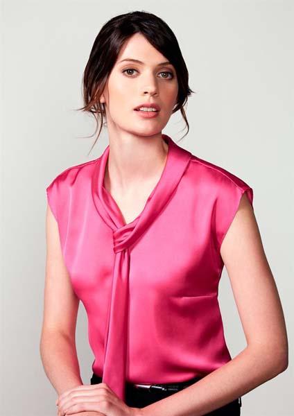 Ladies Shimmer Tie Neck Top