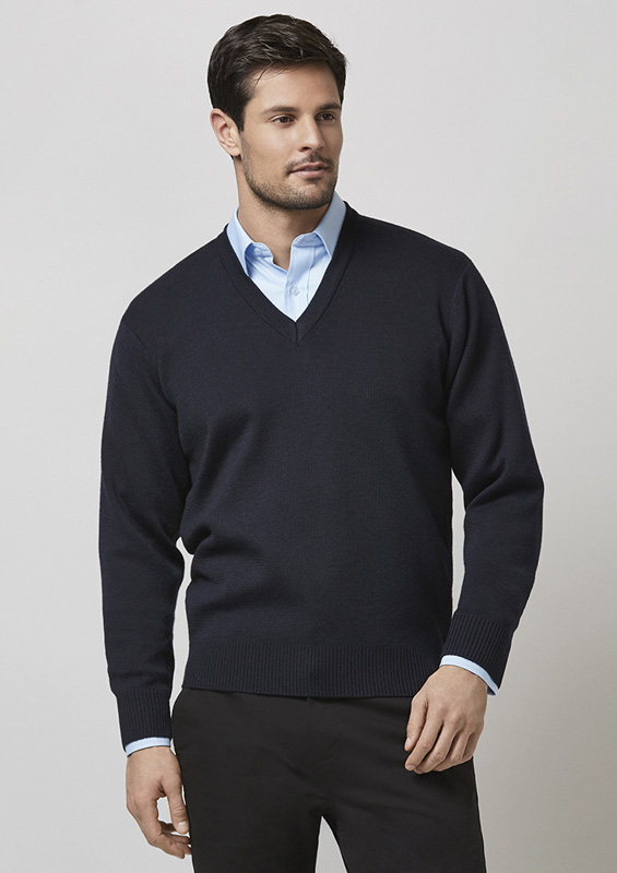 Mens V-Neck Long Sleeve Woolmix Pullover